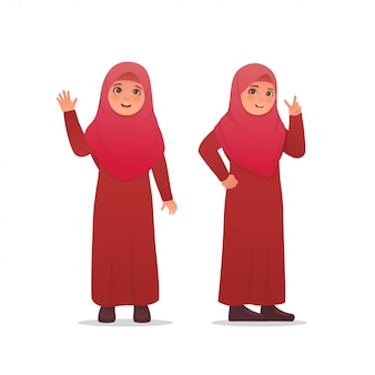 Cute little girl wearing hijab veil dress character design