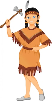 Cute little girl wearing  native american indian costume
