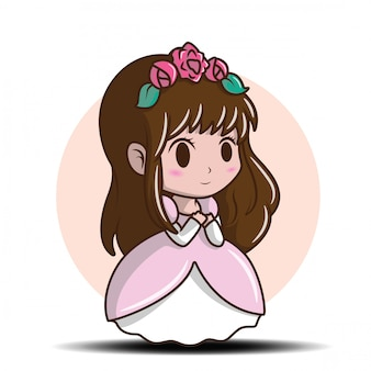 Cute little girl wearing a princess., airy tale cartoon concept.