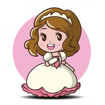 Cute little girl wearing a princess illustration