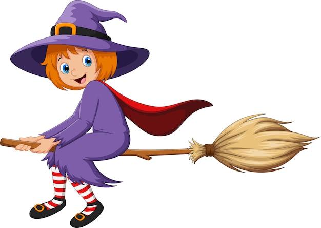 Милая маленькая девочка-ведьма с полетом на метле