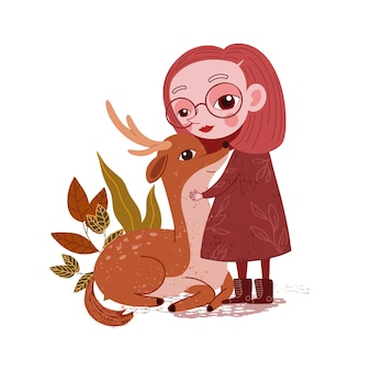 Cute little girl with baby deer illustration