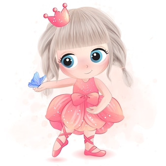 Cute little girl with ballerina illustration