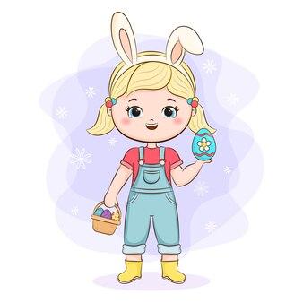 토끼 귀와 바구니 귀여운 소녀
