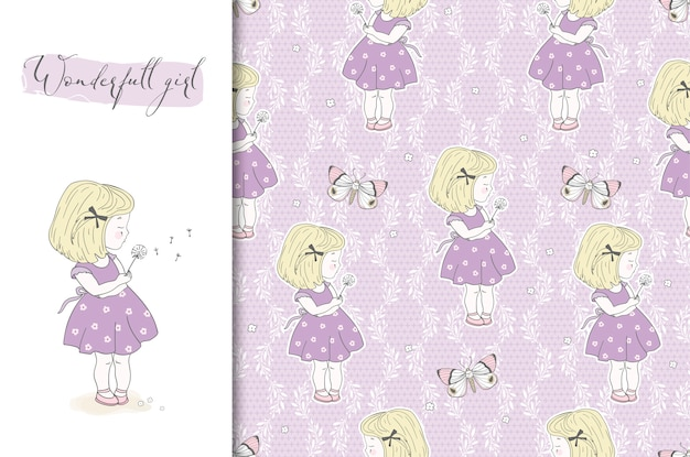Cute little girl with dandelion illustration and seamless pattern. pastel color