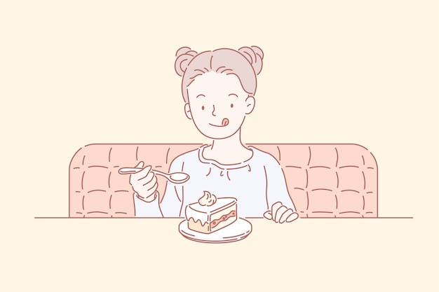 Милая маленькая девочка с двойным верхним узлом ест торт в кафе, стиль линии арт