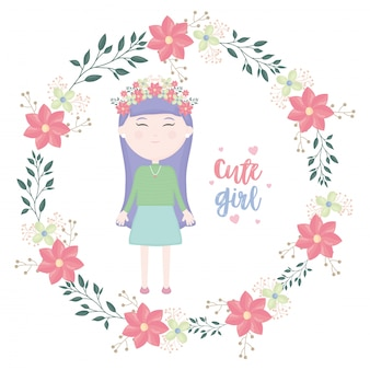 Cute little girl with floral crown character