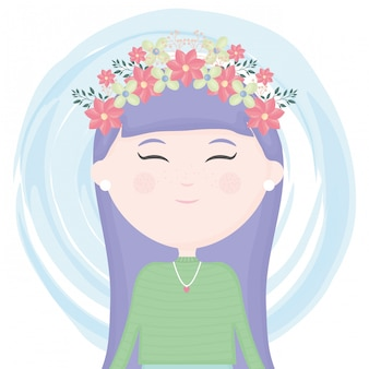 Cute little girl with floral crown in the hair character