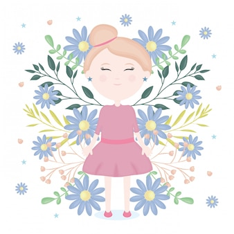 Cute little girl with floral decoration character