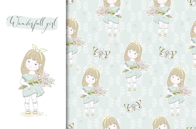 Cute little girl with flowers illustration and seamless pattern.