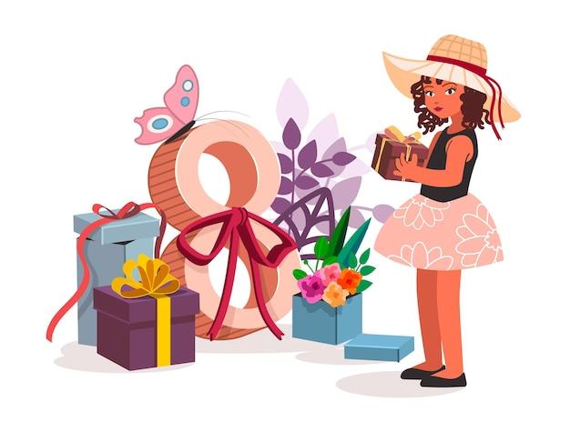 선물을 가진 귀여운 소녀입니다. 배너, 카드, 포스터, 전단지를 위한 최신 유행의 만화 플랫 스타일로 3월 8일 국제 여성의 날을 벡터 그림. 모든 요소가 격리됨