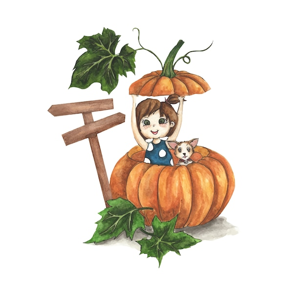 Cute little girl with her dog in a big pumpkin. watercolor illustration.