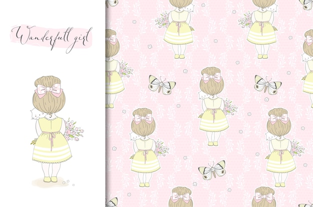 Cute little girl with kitten illustration and seamless pattern.