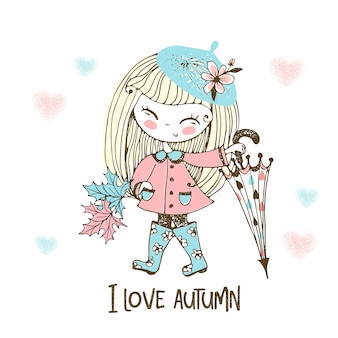 A cute little girl with a large umbrella in rubber boots walks in the rain in autumn.