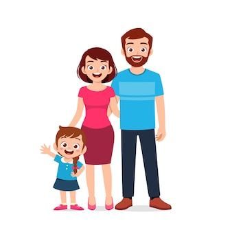 Cute little girl with mom and dad together