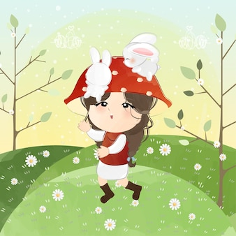 Cute little girl with mushroom hat and bunnies