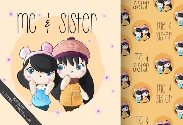 Милая маленькая девочка с сестрой с бесшовные модели