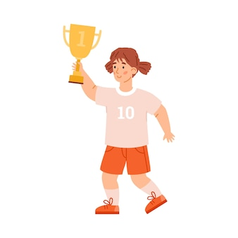 Cute little girl with trophy prize flat vector illustration isolated on white