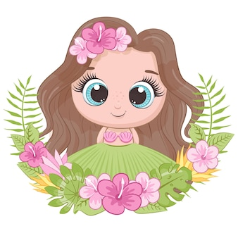 Cute little girl with wreath of hawaii flowers. cartoon vector illustration.