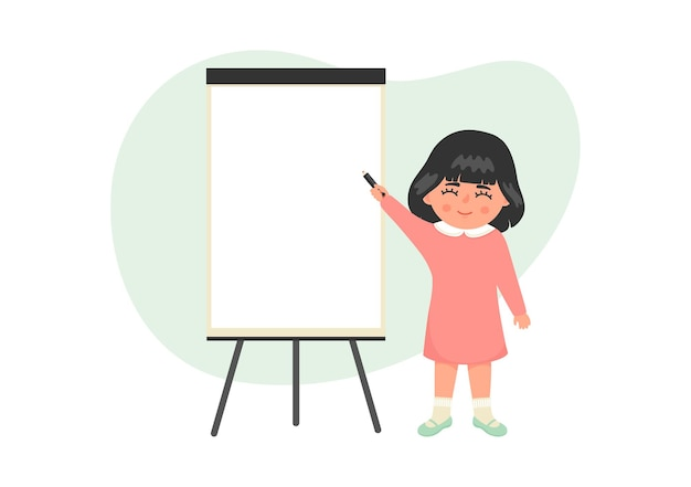 플립 차트에 쓰는 귀여운 소녀