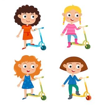 Cute little girls character set