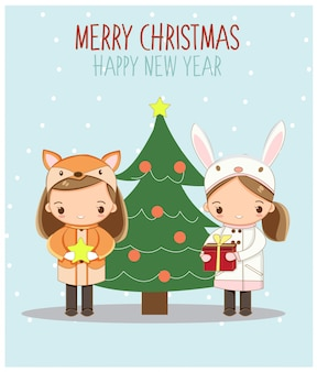 Cute little girls in christmas greeting card