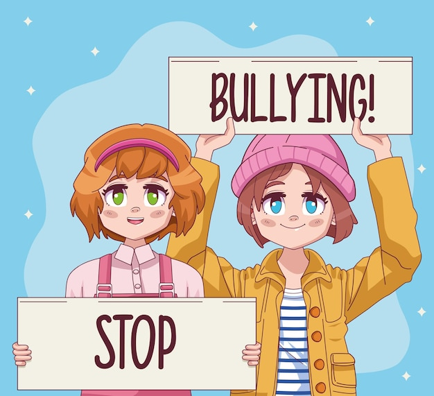 Cute little girls couple with stop bullying protest banners comic manga characters  illustration