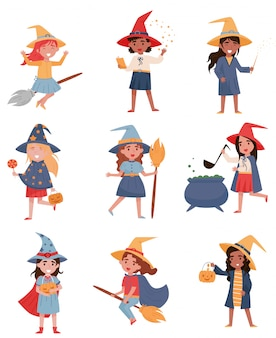 Cute little girls dressed as a witches set, halloween party concept  illustrations on a white background