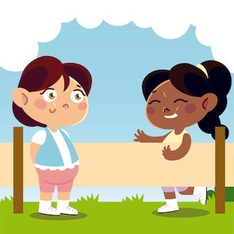 Симпатичные маленькие девочки играют во дворе мультфильм, детская иллюстрация