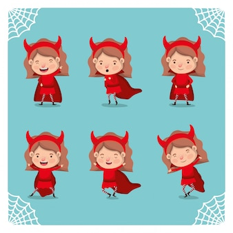 Cute little girls with devils costumes
