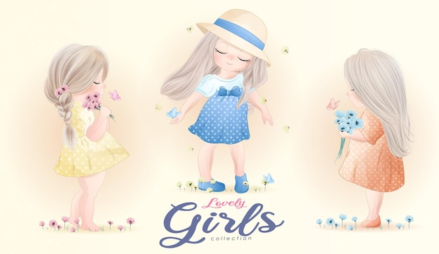 Cute little girls with watercolor illustration set