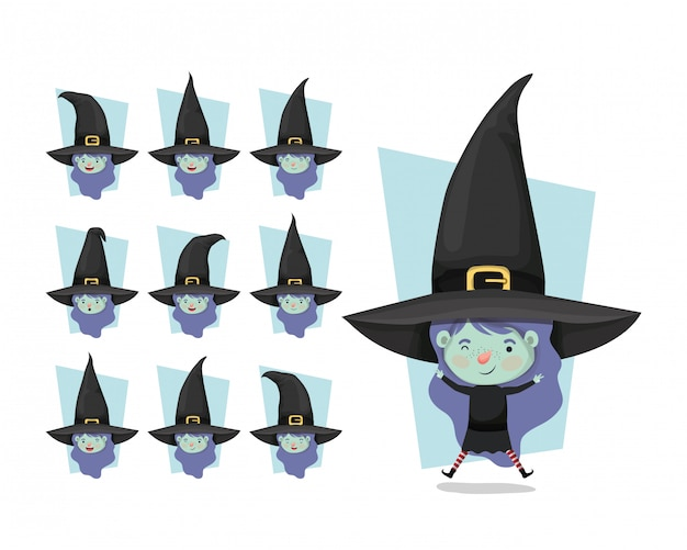 Cute little girls with witches costumes