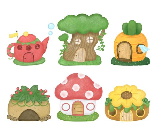 숲 찻주전자 작은 나무 당근 바위 동굴 꽃과 버섯에 있는 귀여운 작은 그놈 집