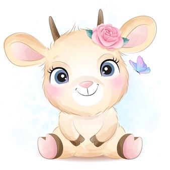 Симпатичная маленькая коза с акварельной иллюстрацией