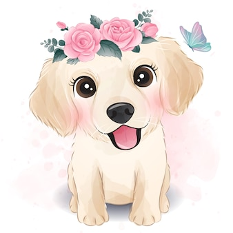 Cute little golden retriever with floral illustration