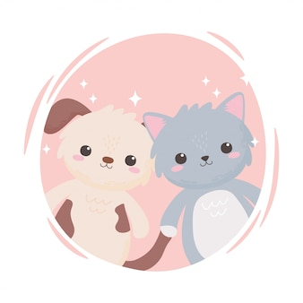 Cute little gray cat and doggy cartoon adorable animals vector illustration