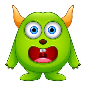 Cute little green cartoon monster isolated