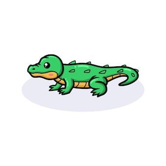 Милый маленький зеленый крокодил мультфильм