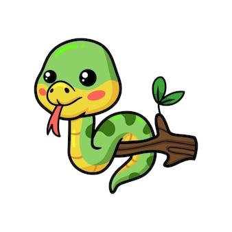 나뭇가지에 귀여운 작은 녹색 뱀 만화