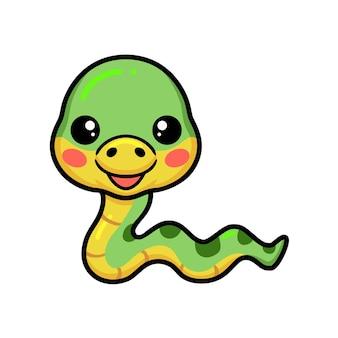 귀여운 작은 녹색 뱀 만화