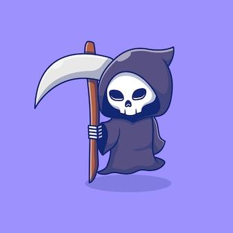 Cute little grim riper vector illustration design carrying a scythe