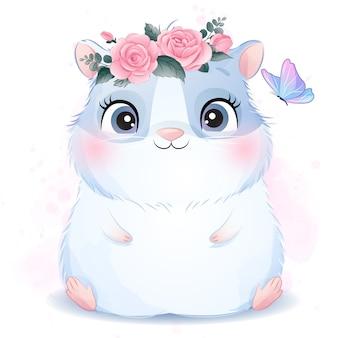 Милая маленькая морская свинка с акварельной иллюстрацией