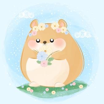 Милая маленькая иллюстрация хомяка и цветков