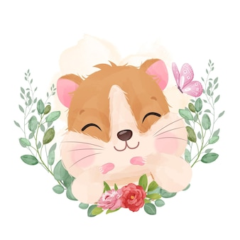 Cute little hamster in watercolor illustration