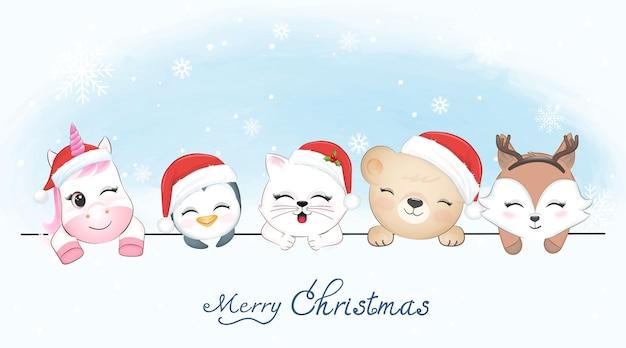 Симпатичные маленькие счастливые животные в зимнем и рождественском сезоне иллюстрации