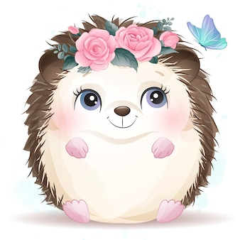 Cute little hedgehog with watercolor effect