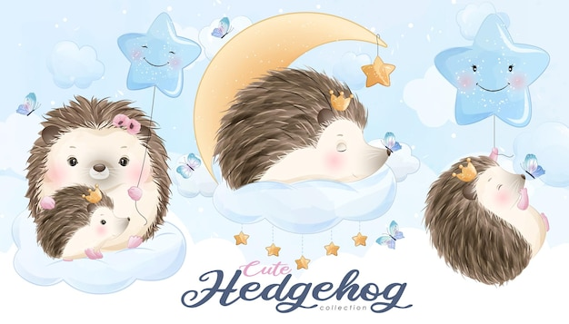 Cute little hedgehog with watercolor illustration set