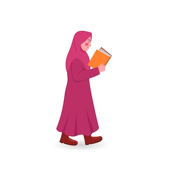 Cute little hijab girl walking read book cartoon