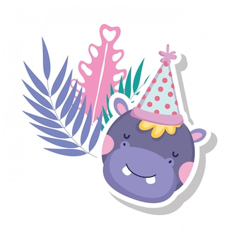 Cute and little hippo character with party hat