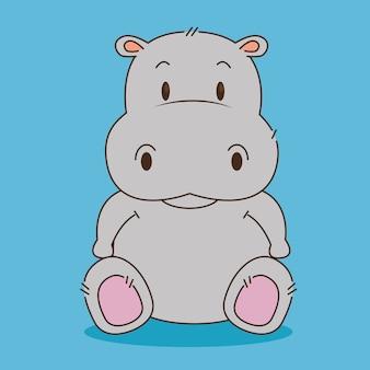 귀여운 작은 하마 캐릭터